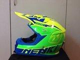 Кроссовый мото шлем NENKI NK-316, жёлтый-зелёный-синий