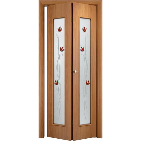 Складная дверь Тиффани миланский орех со стеклом (фьюзинг)