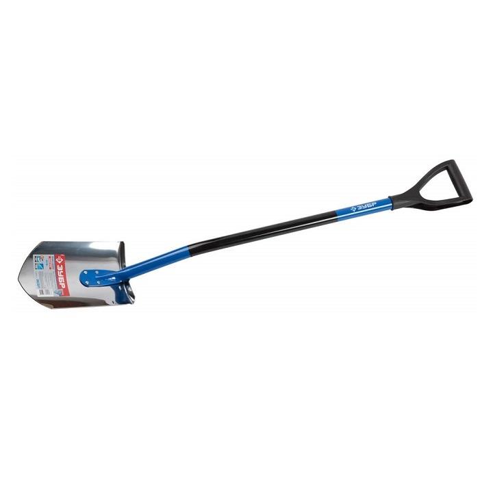 Лопата штыковая из нержавеющей стали, стальной черенок, пластиковая ручка, ЗУБР Профессионал