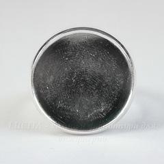 Основа для кольца латунная с сеттингом для кабошона 18 мм (цвет - серебро)
