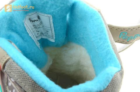 Зимние сапоги для девочек с мембраной KINGTEX Свинка Пеппа (Peppa Pig) на липучках, цвет серый. Изображение 15 из 15.