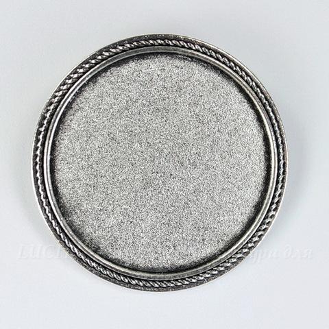 Основа для броши с сеттингом для кабошона 30 мм (цвет - античное серебро)