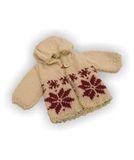 Вязаный удлиненный жакет с капюшоном - Бежевый. Одежда для кукол, пупсов и мягких игрушек.