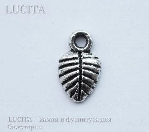 """Подвеска """"Листик"""" 10х6 мм (цвет - античное серебро), 10 штук"""