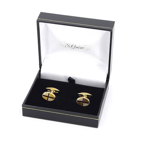 Подарочные овальные золотистые запонки с крестом из стали хром с позолотой SQuire 11-7934 в солидном фирменном подарочном футляре под кожу