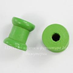 Деревянная декоративная катушка, цвет - зеленый, 14х13 мм