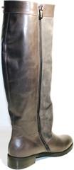 Женские зимние сапоги на низком каблуке бежевые