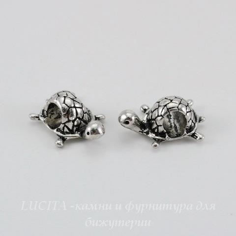 """Бусина металлическая для пандоры """"Черепаха"""" (цвет - античное серебро) 18х13 мм"""
