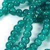 """Бусина стеклянная """"Крэкл"""", шарик, цвет - морская волна, 8 мм, нить"""