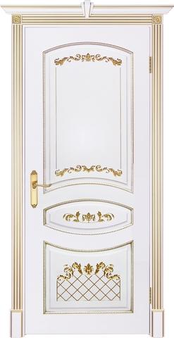 Дверь Prestigio Кариньяно-2, цвет  белый/патина золото, глухая