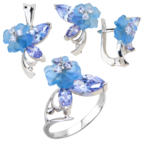 Комплект украшений с цветами из голубого кварца и кубическим цирконием цвета лаванды № 133
