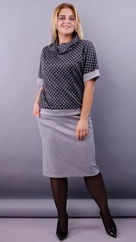 Мег. Стильный костюм для женщин плюс сайз. Серый.