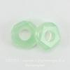 Бусина акриловая для пандоры, рондель с огранкой, цвет - светлый опалово-зеленый, 14х5 мм