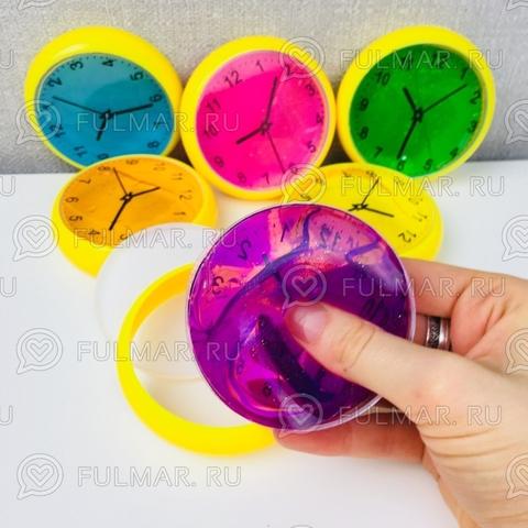 Набор слаймы лизуны Часы с блёстками 6 штук