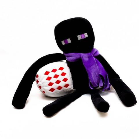 Плюшевый Эндермен. Фиолетовый шарф и бело-красный куб
