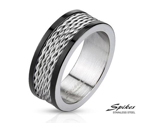 Мужское стальное кольцо со вставкой - тросиками
