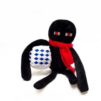 Плюшевый Эндермен. Красный шарф и село-синий куб