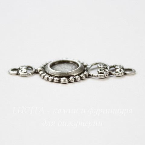 """Сеттинг - основа - коннектор """"Акцент"""" (1-1) для камеи или кабошона 5 мм (оксид серебра)"""