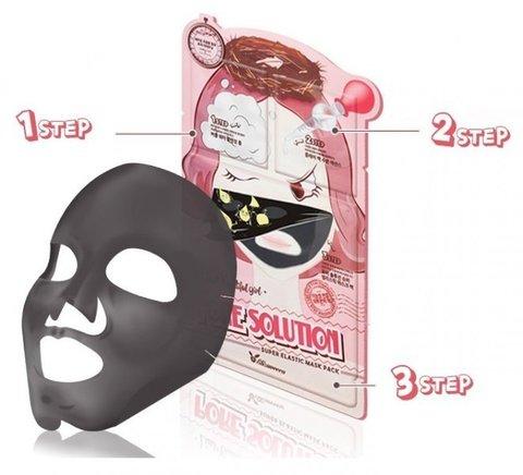Маска для лица для проблемной кожи  3-шаговая Elizavecca 3-step pore solution mask pack 25мл/2*2мл
