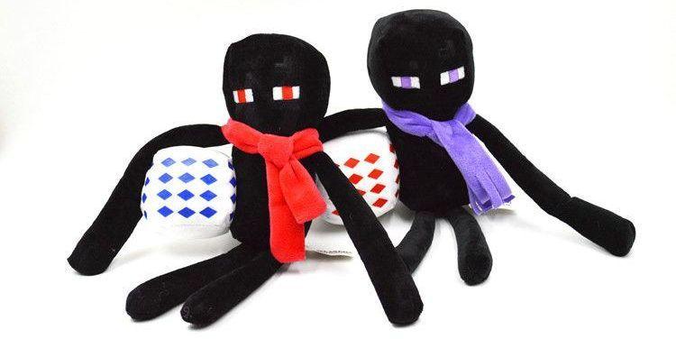 Плюшевый Эндермен с шарфом и кубом