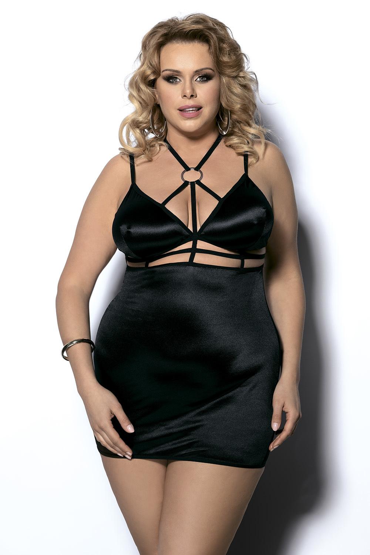 Эротическая сорочка черная большого размера (Ночные сорочки большого размера)