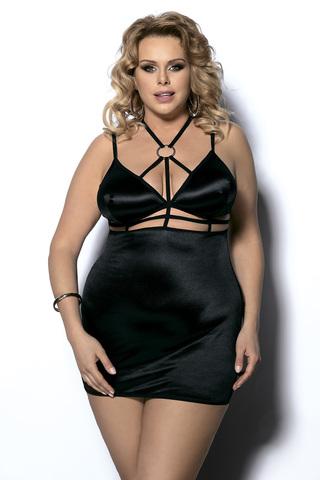 Эротическая сорочка черная большого размера