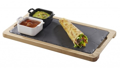 Фарфоровое прямоугольное блюдо, черное, артикул 640605, серия Basalt