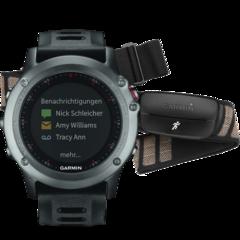 Спортивные смарт часы Garmin Fenix 3 cерые с черным ремешком (с датчиком) 010-01338-11
