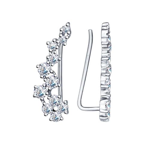 Серьги-зажимы из серебра с фианитами арт.94022203