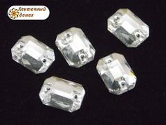Камень прозрачные прямоугольники  пришивные 10*14 мм