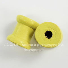 Деревянная декоративная катушка, цвет - желтый, 14х13 мм