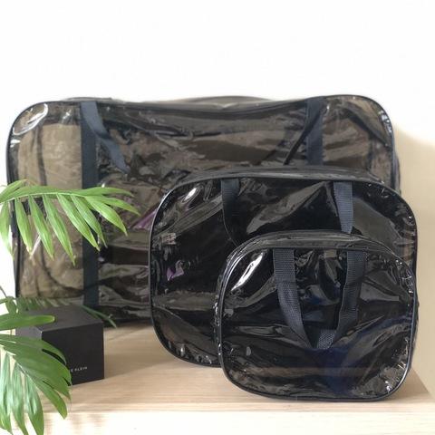 Тонированная прозрачная сумка в роддом с 2 косметичками, черная