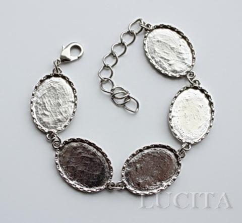 Основа для браслета с 5 сеттингами для кабошона 24х17,5 мм, 24 см (цвет - античное серебро)