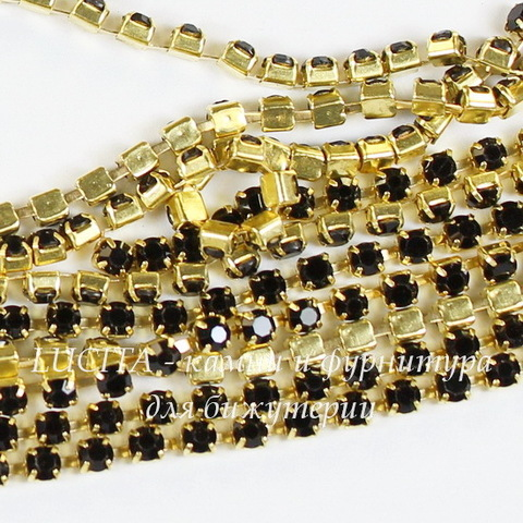 Стразовая лента 2 мм, черная (цвет - латунь), 10 см