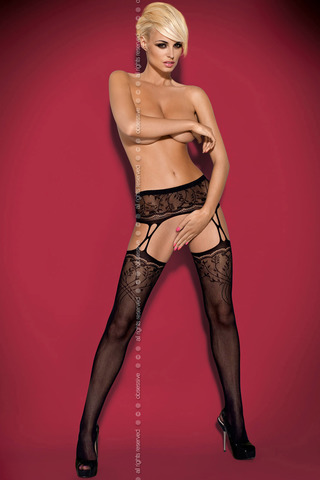 Чулки S 206 Garter Stockings Black Obsessive