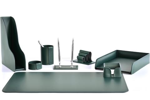 Письменный набор 8 предметов из кожи цвет зеленый