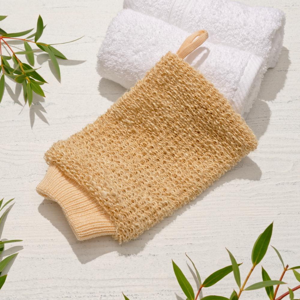 Мочалка-рукавица  массажная из натурального волокна