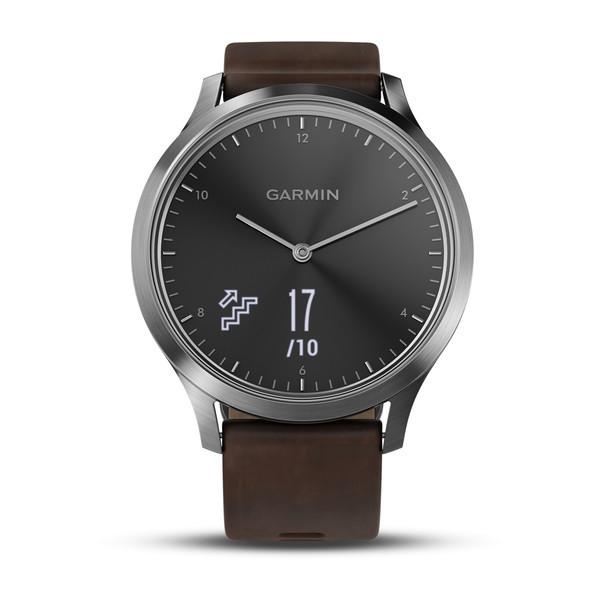 Vivomove HR серебряные с темно-коричневым кожаным ремешком
