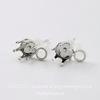 Пуссеты - гвоздики с петелькой и сеттингом для страза/кабошона 4 мм (цвет - серебро)(с заглушками)