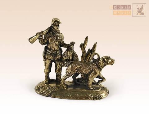фигурка Охотник с уткой и собакой