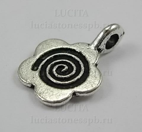 """Бейл с площадкой """"Цветочек"""" 15х10 мм (цвет - античное серебро), 5 штук ()"""