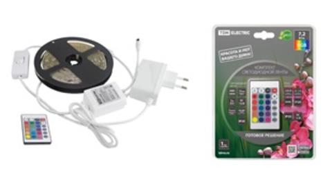 Комплект светодиодной ленты SMD5050-30 LED/м-12 В-7,2 Вт/м-IP65-RGB (5 м), 24 Вт, IR-контроллер TDM