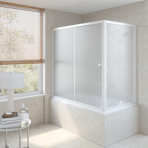Шторка на ванну Vegas Glass ZV+ZVF профиль белый, стекло сатин