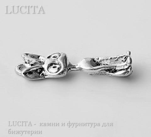 """Подвеска 3D """"Египетская кошка"""" (цвет - античное серебро) 27х18 мм"""
