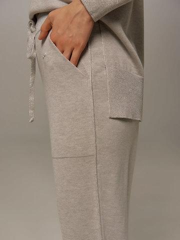Женские брюки цвета серый меланж из шелка и кашемира - фото 2