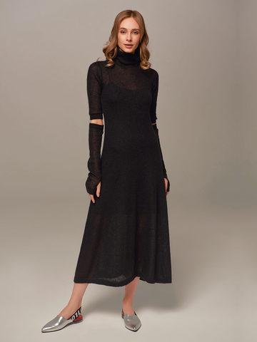Женское черное платье миди с длинным рукавом - фото 4