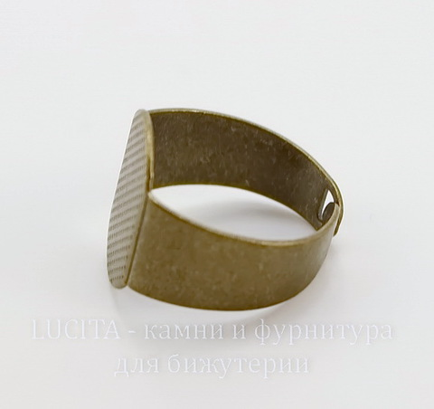 Основа для кольца с площадкой 15х11 мм (цвет - античная бронза)