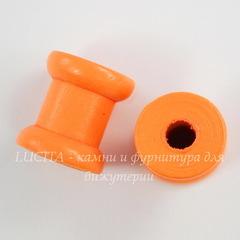 Деревянная декоративная катушка, цвет - оранжевый, 14х13 мм