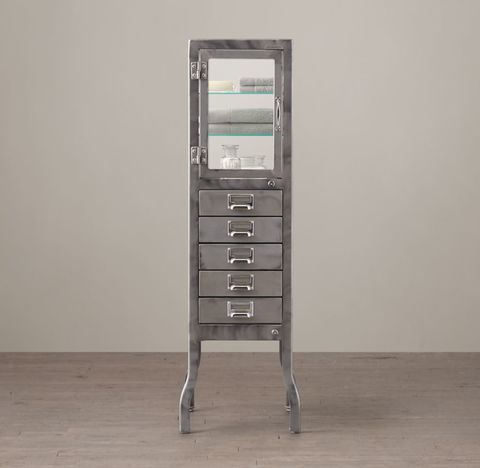 Pharmacy Large Bath Cabinet with Drawers - Burnished Steel
