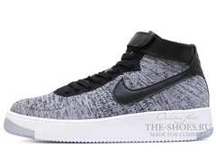 Кроссовки Мужские Nike Air Force 1 Mid Flyknite Grey Black White
